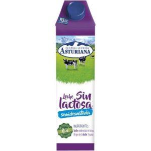Pack de leche semidestada sin lactosa Asturiana